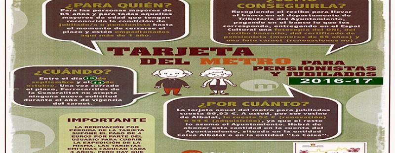 ADQUISICIÓ I RENOVACIÓ DE LA TARGETA DEL METRO DE JUBILATS/ADES I PENSIONISTES (REGIDORIA DE SERVEIS SOCIALS)