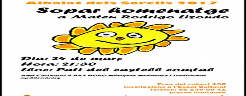 QUEDA OBERTA LA INSCRIPCIÓ PER AL SOPAR HOMENATGE A L'HISTORIADOR D'ALBALAT MATEU RODRIGO (XXX TROBADA ESCOLES EN VALENCIÀ DE L'HORTA NORD) - 24 DE MARÇ- 21.30 HORES